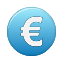 coin, blue, euro, money, cash, currency icon