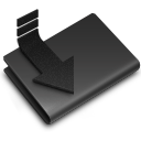 black, downloads icon