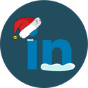 christmas, social, snow, linkedin icon