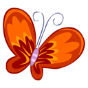 red, butterfly icon