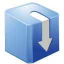 box, blue, download icon