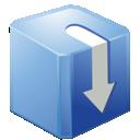 box, blue, download icon