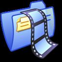 folder, video, blue icon
