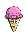 cartoon, cream, ice, cone, emoji icon