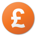 Currency, Pound, Red icon