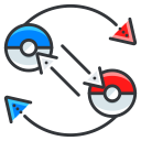 pokemon, play, exchange, go, game icon