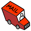 vehicle, transportation, red, little, envelop, automobile, transport, truck, email, letter, message, mail icon