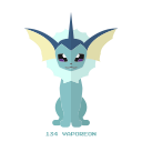 pokemon, kanto, vaporeon, agua icon
