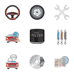 car and services icon sets preview