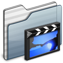 video, film, movie, folder, graphite icon