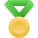 gold, metal, green icon
