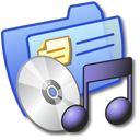 music, folder, blue icon