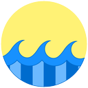 ocean, waves, sea, sunny, summer icon
