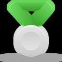 silver, green, metal icon