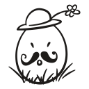 easter, flower, egg, decorative, fragile, hat, mustache icon