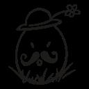 easter, flower, egg, decorative, fragile, hat, mustache icon
