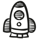 Toy rocket hand drawn space ship icon