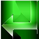 left, back, green, return, arrow icon