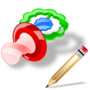 pacifier,write,writing icon