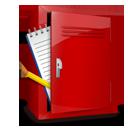 notebook, locker icon