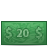 money, bill, 20, dollar icon
