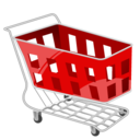 red, basket, shopping, cart icon