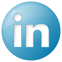 social linkedin button blue icon