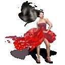 girls, dress, red icon