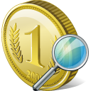 search, coin icon