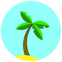 travel, summer, sand, beach, vacation, palm icon