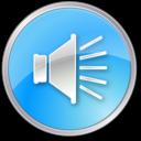 volume,pressed,blue icon