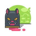 cat, animal, scary, spooky, pet, halloween icon