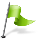 mapmarker, flag, right, chartreuse icon