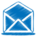 blue mail open icon