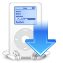 ipod, down, decrease, download, descending, descend, mp3 player, fall icon