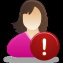 Female user warning icon