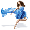 girls, dress, blue icon