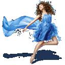 girls, dress, blue icon