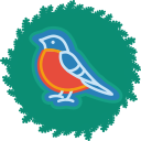 xmas, wreath, christmas, bird icon