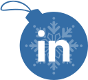 linkedin, ball, christmas icon