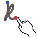 stroke, k, gestureworks, letter, lowercase icon