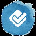 social, box, media, foursquare, check icon