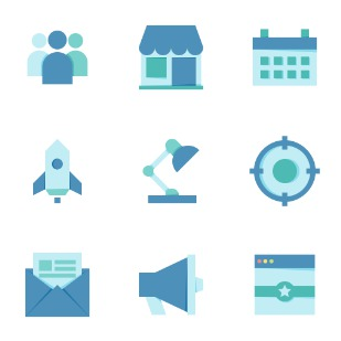 SEO Flat icon sets preview