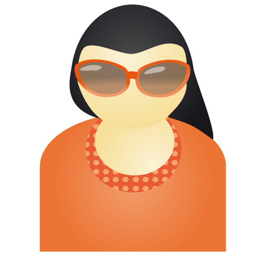 person, user, woman, profile, people, sunglass, account, female, red, member, human icon