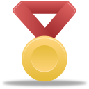 red, metal, gold icon