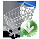 fall, shopcartdown, descend, ecommerce, webshop, arrow, shopping, buy, download, down, descending, shopping cart, decrease, cart, commerce icon