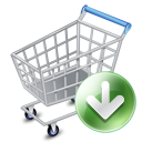 shopping cart, webshop, down, ecommerce icon