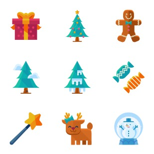 Flat Christmas icon sets preview