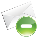 delete, green, email icon