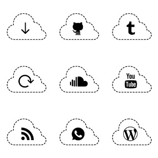 Apps cloud set icon sets preview